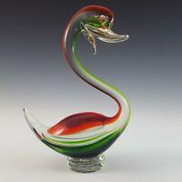Vintage Murano Swan Green Glass Figurine