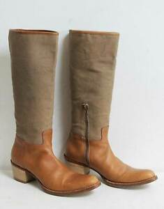 Miu Miu Canvas Tan Leather Boots Size UK 4 / EU 37 Beige Brown
