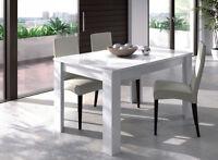Mesa de comedor o salon rectangular extensible color blanco brillo