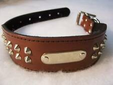 Staffy style leather studded dog collar 65 cm tan n/plate,pet accessories,leads
