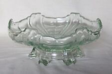 Art Deco Pale Green Glass Centrepiece Bowl with Matching Glass Stand