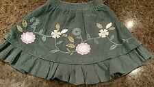 Girls dark sage green skirt 9-12m Mini Mode flower detail