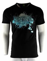 Men's Hugo Boss T-Shirt Black Blue Fashion Crew Neck Size XXL