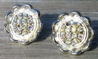 Vintage Aurora Borealis Rhinestone Screw Back Earrings