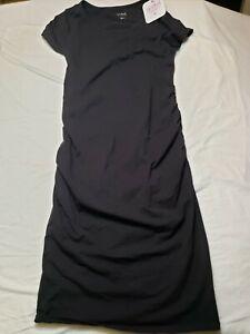 Isabel Maternity Solid Black Short Sleeve Midi Dress Size M Comfortable Cute