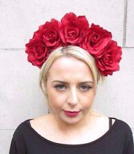 Red Raspberry Ivory Rose Flower Crown Garland Leaf Hair Head Band Choochie Choo
