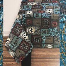 Haunted Hollow Halloween Fabric Tablecloth 60x102 Skulls Polyester & Metallic
