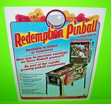 Stern AVENGERS REDEMPTION Original 2012 Pinball Machine Promo Sales Flyer RARE