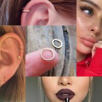 Sterling Silver Seamless Nose Ring Hoop Cartilage Tragus Stud Ear 6mm 8mm 10mm