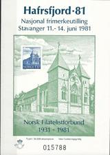 Norwegen, Briefmarkenausstellung, Hafrsfjord 81, Block ohne Frankaturkraft,SCHÖN