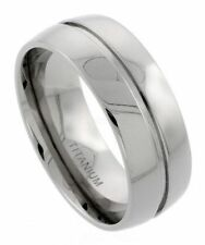 Men's Comfort Fit Titanium Size 11 Wedding Band 9mm Center Groove Design C20