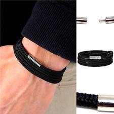 bracciale uomo con corda nautica cordino nero cordoncino acciaio in braccialetto