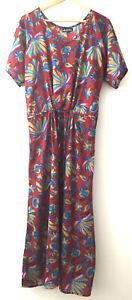 Ishka Ladies Boho Hippy Maroon Peacock Short Sleeve Maxi Dress Size M/L