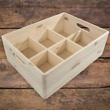 Large Plain Wooden Storage Box /Handles & Removable Compartments/To Decorate DIY