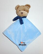 Carters Blue Bear Baby Security Blanket I LOVE MY MOM Tan Child of Mine P44
