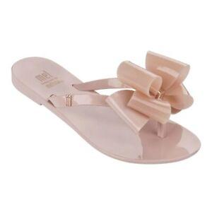 MELISSA Big BOW Adulto Flip Flops Women Jelly Shoes Flat Slippers US 5-9
