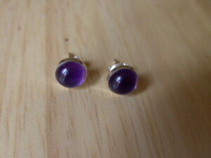 SOLID STERLING SILVER STUD EARINGS WITH AMETHYST MADE BY ME.