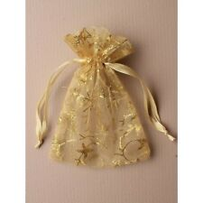 NEW 12 Gold glitter print organza drawstring favour bags wedding party 15x11cm
