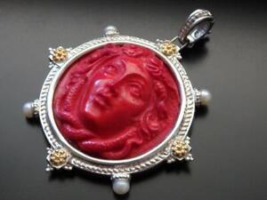 TAGLIAMONTE Pendant SS+18k accent RED Medusa VENETIAN CAMEO+PEARL enhancer