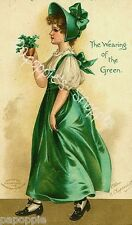 St Patrick's Day Fabric Block Vintage Postcard on Fabric Irish Girl