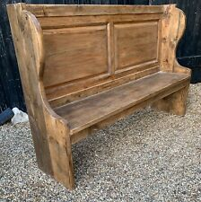 Rustic Reclaimed Pine Panelled Bench / Church Pew