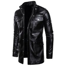 Mens Faux Leather Jacket Slim Fit Biker Trench Coat Outwear Motorcycle Casual L