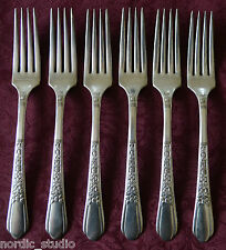 FLORAL 1938 by Wm. A. Rogers Oneida Silverplate SET of 6 DINNER FORKS