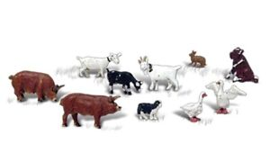 N Scale WoodLand Scenics  A2202   Barnyard Animals     10 pcs    NIP