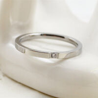 2mm Silver/Rose Gold 18K Plated CZ Band Women Titanium Steel Tail Ring Size 4-10