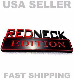 REDNECK EDITION TRUCK EMBLEM suv logo DECAL SIGN ornament BLACK RED Bumper front