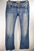 BKE Stella Buckle Bootcut Stretch Womens Jeans Tag 28x31.5 Medium Meas. 30x32