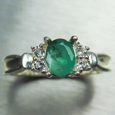 Natural Colombian Emerald 925 silver /9ct 14k 18k Gold Platinum engagement ring