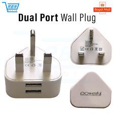2 AMP Fast Dual Twin 2 Port USB Charger UK Mains Wall Plug Adapter 3Pin