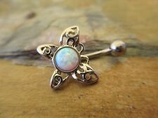 White Lab Opal Butterfly Belly Button Navel Ring Piercing