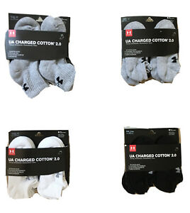 NEW Under Armour UA Charged Cotton 2.0 Crew/NoShow Socks, 6 Pair, Youth Sizes