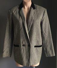 Hand Made Black & White Houndstooth Jacket/Blazer Size 12 - 14