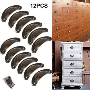 12x Brass Cup Shell Drawer Cupboard Cabinet Door Furniture Antique Pull Handle
