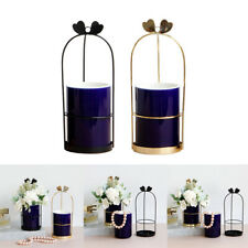 "2 Pcs Nordic Style Round Dark Blue Vase Tabletop Flower Pot Home Decor 3""x4"""