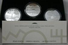 LATVIA 1 Lats 2000-2002 Silver Proof Set Earth Heaven & Destiny