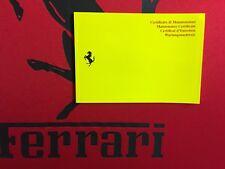 Livret de maintenance FERRARI neuf vierge origine jaune Carnet Entretien