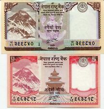 Nepal -  5 and 10 Rupees - Set of 2 UNC currency notes