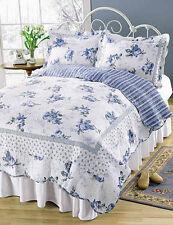 King Quilt Set Blossom Blue Roses on White Romantic Shabby Chic