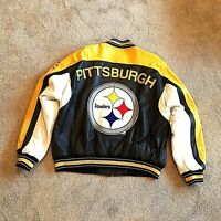 PITTSBURGH STEELERS Leather Jacket  US sz XL G-III Carl Banks QB Club Steelers