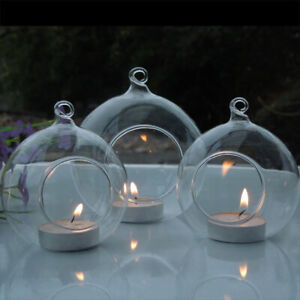 Clear Glass Bauble Tea Light Holder Wedding Hanging Tealight Table Candle Holder