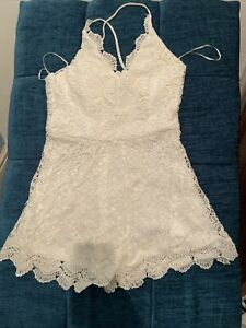 (4)White Lace Play Suit. Ladies Christmas NYE Party Dress. Girls Clothes Size L