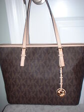 NWT Michael Kors Jet Set Travel Brown Signature Top Zip Tote Handbag