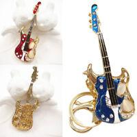 Silver Guitar Key Chain Ring Metal Rhinestone Keyring  Keychain Gifts Hot Sale