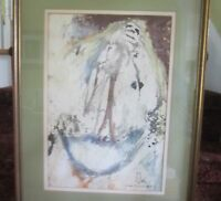 """Mallord signed original """"Woman coming out of Egg"""" watercolor MId ceutury Modern!"""