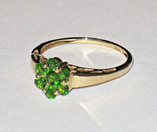 10K YELLOW GOLD ROUND CHROME DIOPSIDE FLOWER CLUSTER RING 2.1 GRAMS SIZE 8.5