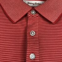 Tommy Bahama Men's Short Sleeve Polo Shirt Sz 2XL Red Orange Stripe Cotton